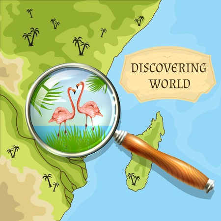 Discovering world background with vintage map and magnifier and vector illustration