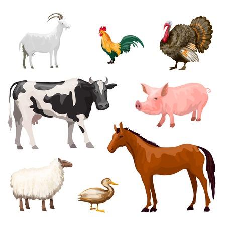 animal cock: Animali da fattoria icone decorative impostate con il cavallo maiale oca mucca illustrazione vettoriale isolato Vettoriali