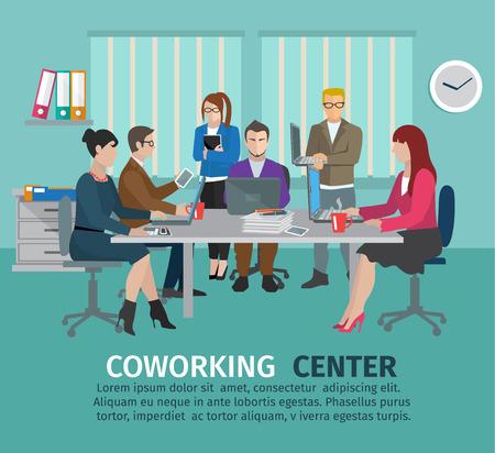 medio ambiente: Concepto de centro de coworking con empresarios autónomos en la ilustración tabla de vectores Vectores