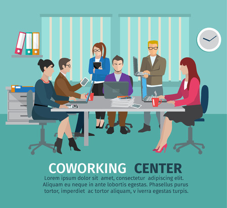 Coworking center concept with business people freelancers on the table vector illustration