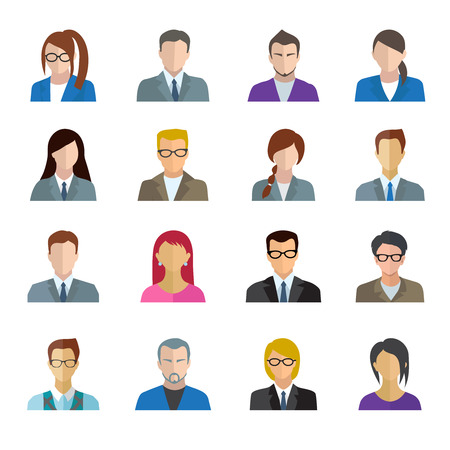 Office worker business personnel avatar icons set isolated vector illustration