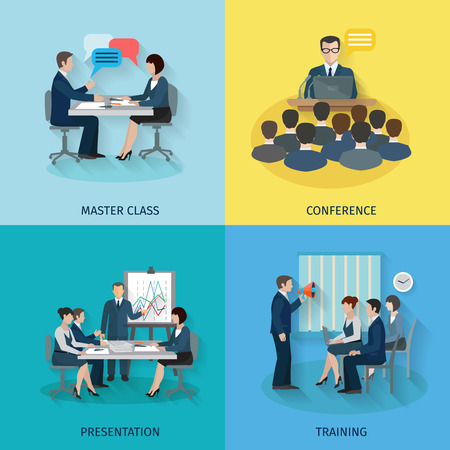 ceo: Conference design concept set with master class presentation training flat icons isolated vector illustration Illustration