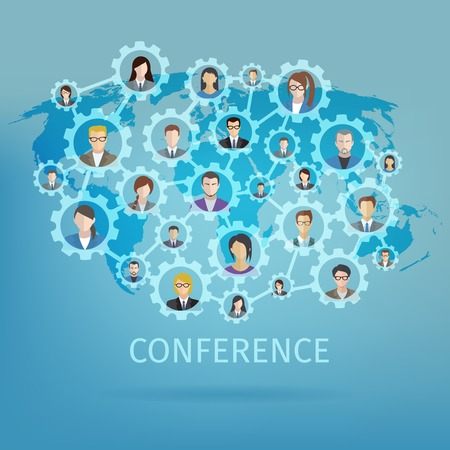 connected world: Global business conference concept with world map and people in gears connected vector illustration
