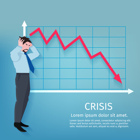 economy financial: Frustrated businessman with descending finance chart crisis poster vector illustration