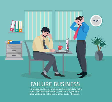 Failure business concept with frustrated people in office interior vector illustration Иллюстрация