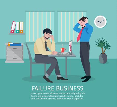 Mislukking zakelijk concept met gefrustreerde mensen in kantoor interieur vector illustratie Stockfoto - 38305118