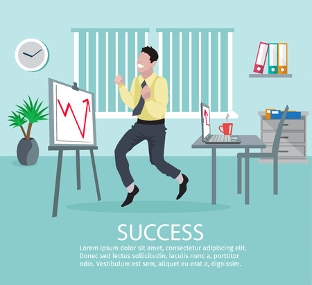 successful businessman: Successful business idea poster with young male businessman in office in front of growth chart vector illustration