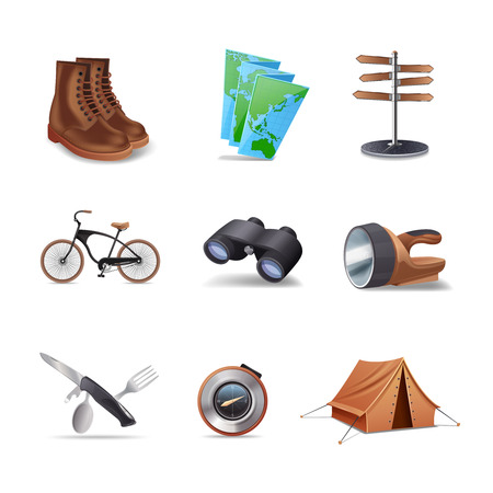 hiking boots: Hiking realistic decorative icons set with boots map bike isolated vector illustration