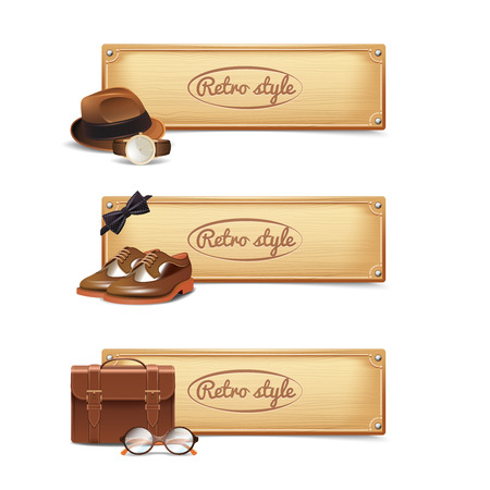bowler hats: Gentleman horizontal banner set with realistic retro style accessories isolated vector illustration Illustration
