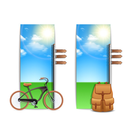 walking trail: Travel banners vertical set with realistic bike and backpack on sunny outdoor background isolated vector illustration