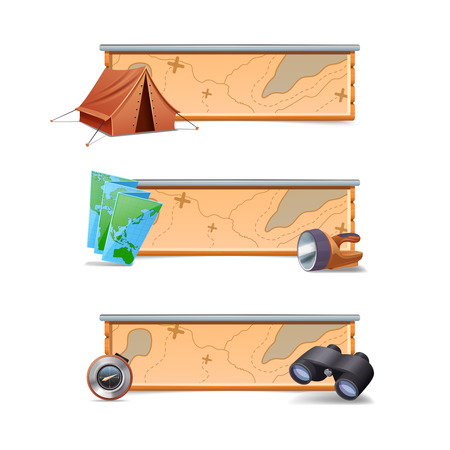 walking trail: Hiking banners horizontal set with realistic tent map compass isolated vector illustration