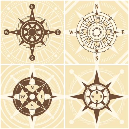 voyager: Vintage compass design concept set with flat nautical icons set isolated vector illustration