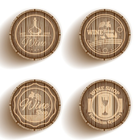 Wine shop premium quality label set on cask isolated vector illustration