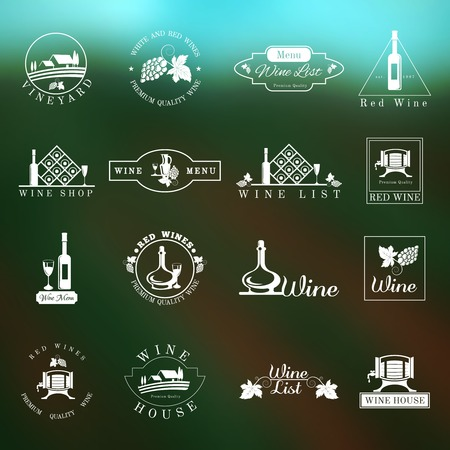 Wine house menu list logo design stamps set isolated vector illustration Illustration