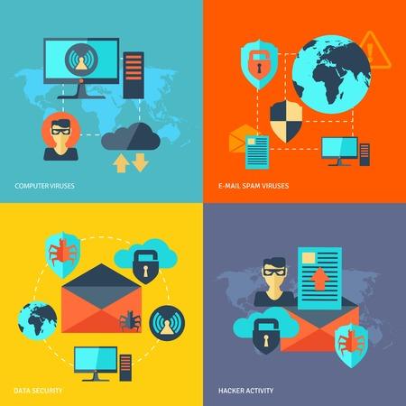 virus informatico: Red de concepto de diseño de seguridad establecido con virus informáticos iconos planos e-mail actividad de los hackers de spam aislado ilustración vectorial Vectores