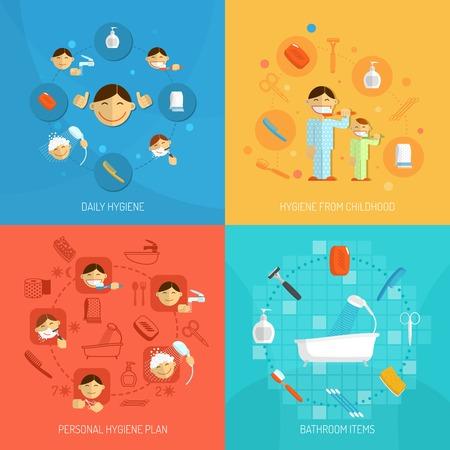 aseo personal: Personal concepto de diseño higiene diaria establecida con artículos de baño aislado ilustración vectorial Vectores