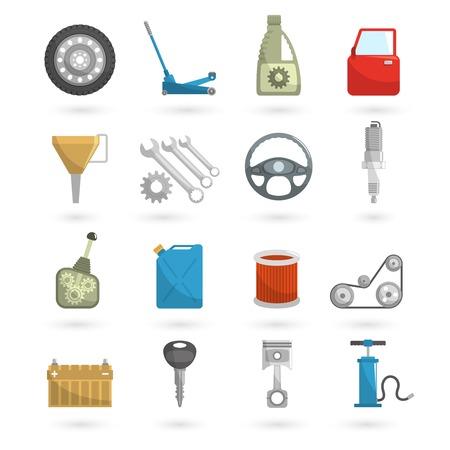 repuestos de carros: Servicio auto partes de automóviles de reparación de automóviles iconos conjunto plana ilustración vectorial aislado