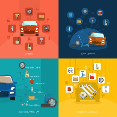 repair computer: Auto service design concept set with car repair station diagnostics plan flat icons isolated vector illustration Illustration