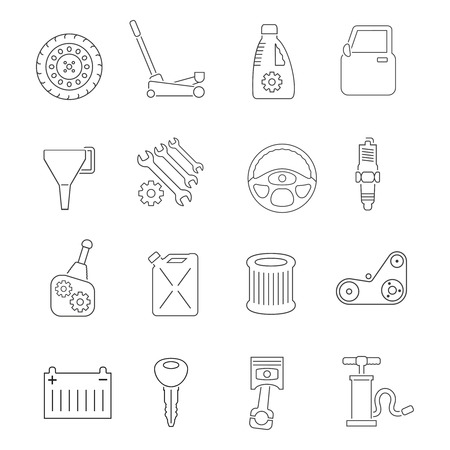 car tuning: Auto service car maintenance and tuning outline icons set isolated vector illustration