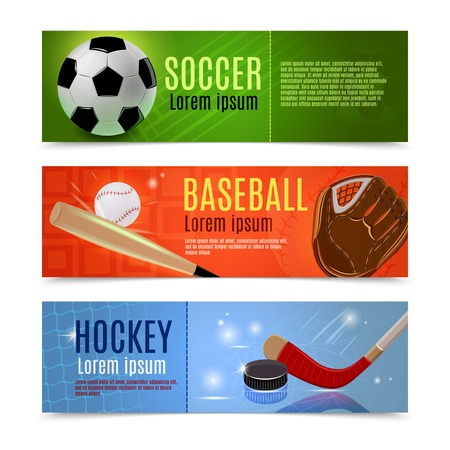 hockey games: Sport banner flat horizontal set with soccer baseball hockey accessories isolated vector illustration