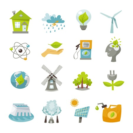 Eco renewable recycling energy icons flat set isolated vector illustration Ilustração
