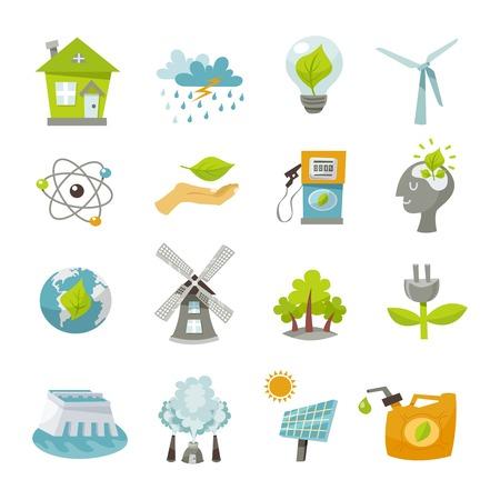 Eco riciclaggio rinnovabile icone di energia TV set isolato illustrazione vettoriale