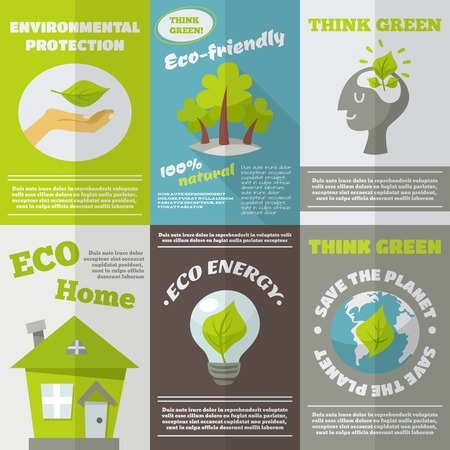 poster designs: Eco energy think green environmental protection mini poster set isolated vector illustration