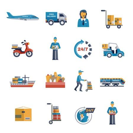 transporte: Entrega env�o de la carga log�stica y transporte iconos plana conjunto aislado ilustraci�n vectorial Vectores