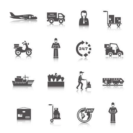 cargo transport: Delivery freight and transportation logistics icons black set isolated vector illustration