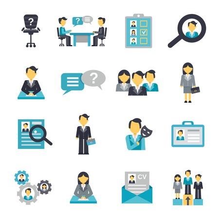 reunion de trabajo: Gesti�n de estrategia de la organizaci�n de los recursos humanos de los iconos conjunto plana ilustraci�n vectorial aislado Vectores