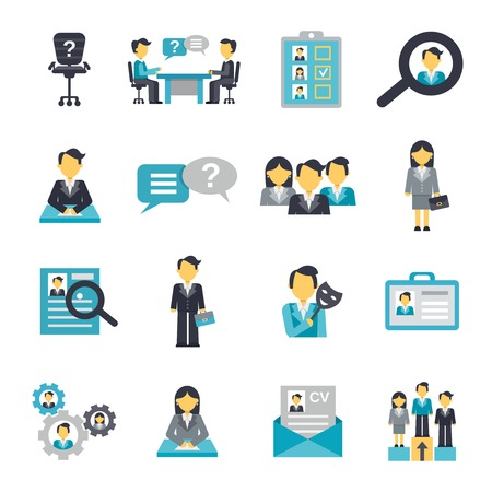business team meeting: Human resources organization strategy management icons flat set isolated vector illustration