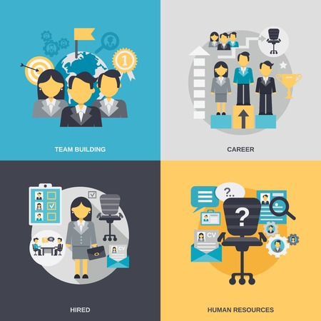 cv: Human resources design concept set with team building career hired person flat icons isolated vector illustration