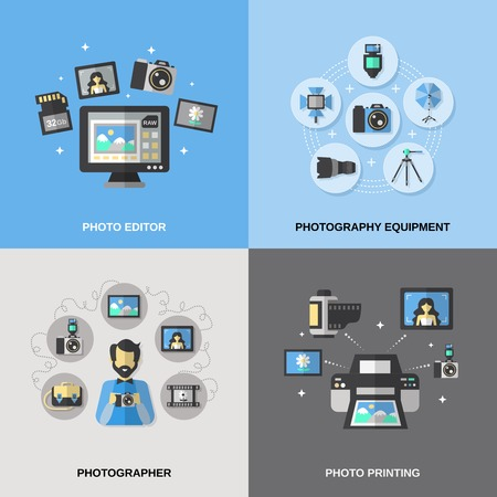 Photography design concept set with equipment photo editor and printing photographer isolated vector illustration