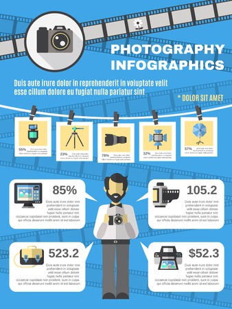 editing: Photography infographics set with photo camera and equipment information symbols vector illustration