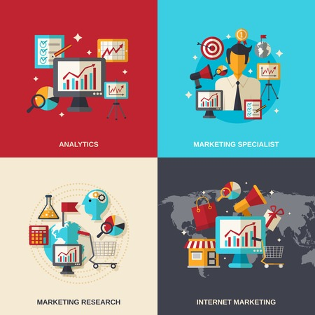 specialist: Marketing design concept set with analytics specialist internet research flat icons isolated vector illustration