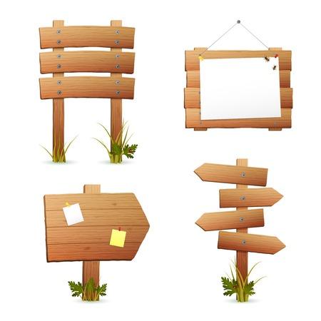 空白の木製情報標識やポインティング矢印設定分離ベクトル イラスト