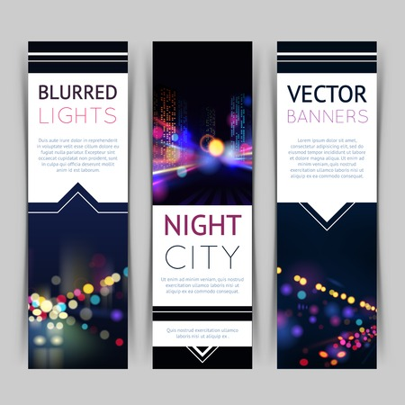 blurred lights: Blurred lights night city banner vertical set with isolated vector illustration