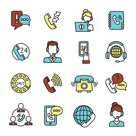 answering phone: Call center customer service chat telephone assistance icons set isolated vector illustration Illustration