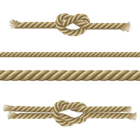 Cuerdas retorcidas nodos y marinero nudos decorativos conjunto aislado ilustración vectorial
