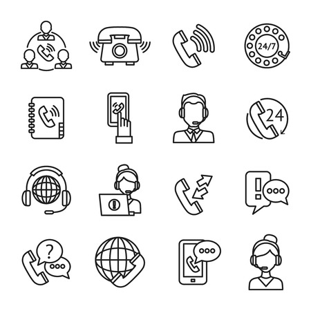 Call center question answer service outline icons set isolated vector illustration