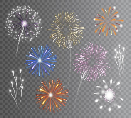 Realistic carnival multicolored firework explodes on transparent background isolated vector illustration Çizim