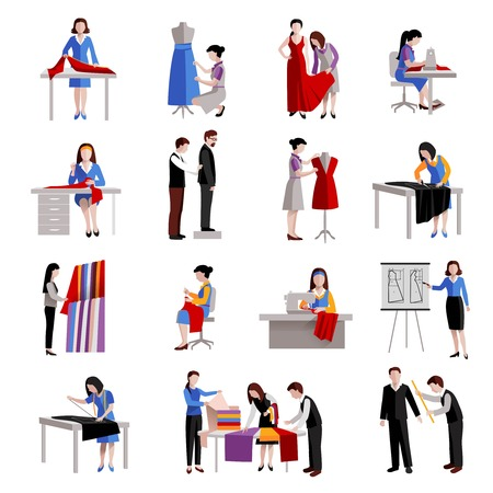 coser: Iconos modista establecen con los trabajadores de moda y dise�adora de medici�n sastrer�a y costura aislado ilustraci�n vectorial