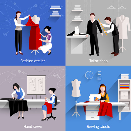 Sewing design concept set with fashion atelier tailor studio shop flat icons isolated vector illustration Çizim