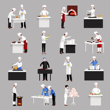 Cooking icons set with restaurant chef figures serving a table and making decoration isolated vector illustration