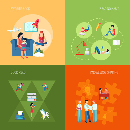 knowledge business: Reading people design concept set with knowledge sharing favorite book flat icons isolated vector illustration