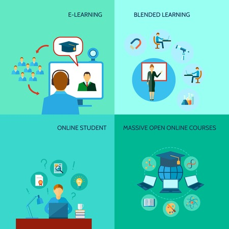 educaci�n en l�nea: Concepto en l�nea de dise�o de la educaci�n conjunto con cursos de e-learning iconos planos aislados ilustraci�n vectorial