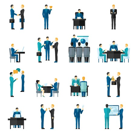 an achievement: Business men and women set in different poses in office isolated vector illustration