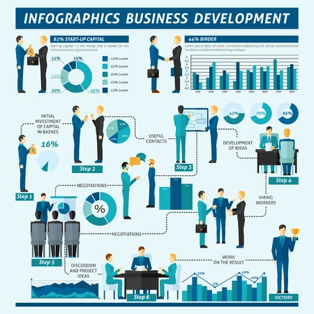 presentation people: Businessmen infographics set with business development people teamwork symbols and charts vector illustration