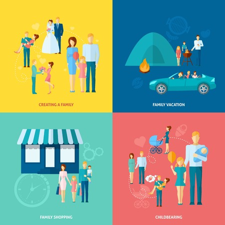 childbearing: Family design concept set with shopping vacation and childbearing flat icons isolated vector illustration Illustration