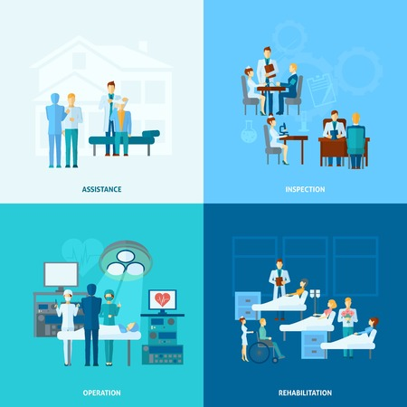 Arts in het ziekenhuis design concept set met bediening hulp revalidatie en exploitatie vlakke pictogrammen geïsoleerd vector illustratie Vector Illustratie